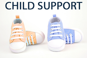 Two pairs of baby sneakers in orange and blue with child support in navy text to the left of them