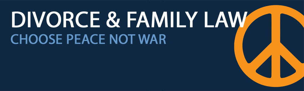An orange peace sign on a navy blue background, with white text stating divorce and family law and underneath saying choose peace not war in light blue text