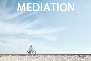 A women riding a bike on a boardwalk above the sand in front of a blue sky. With mediation in white text above her.