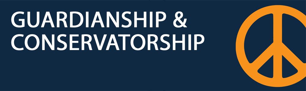 An orange peace sign on a navy blue background with white text stating guardianship and conservatorship