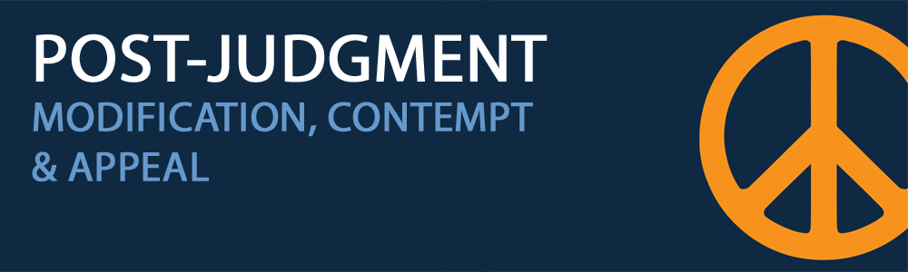 An orange peace sign on a navy blue background with white text stating post judgement and light blue text stating modification, contempt, and appeal