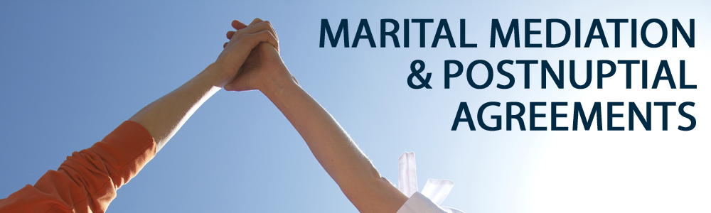 Two people holding their arms towards the sky, with martial mediation and postnuptial agreements written in front of them in navy blue text.