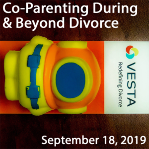 Skylark Spacewoman, Vesta flyer and text Co-Parenting During & Beyond Divorce